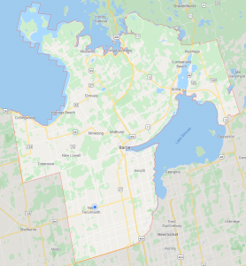 Simcoe County, ON Map coverage for Simcoe County Paving