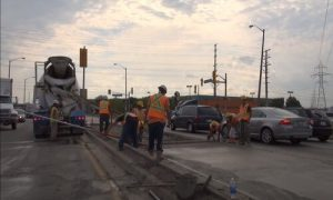Paving Simcoe County pouring concrete on the road