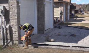 Barrie Paving interlocking bricks trimming with cutter